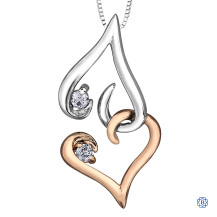 Sterling Silver and 10kt Rose Gold Diamond Forever Heart Pendant with Chain