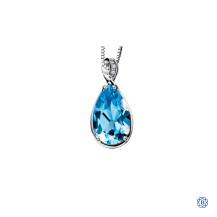 10kt White Gold Blue Topaz Diamond Pendant
