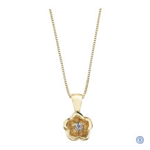 10kt Yellow Gold Canadian Diamond flower necklace