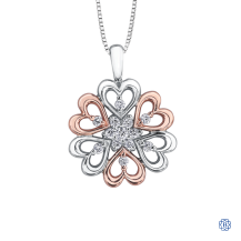Floral 10kt White Gold and Rose Gold Hearts Diamond Necklace