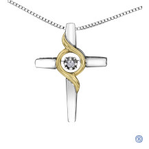Silver and 10kt Yellow Gold Canadian Diamond Cross necklace
