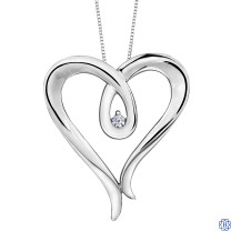 Silver Canadian Diamond Heart necklace