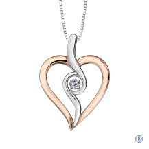 Silver and 10kt Rose Gold Canadian Diamond Heart necklace