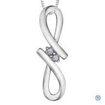 Sterling Silver 0.04ct Diamond Infinity Pendant with Chain