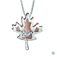 Silver and 10kt Rose Gold Canadian Diamond Maple Leaf necklace