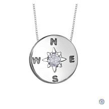 Silver Canadian Diamond Compass necklace