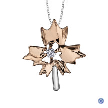 10kt Rose and White Gold Canadian Diamond Maple Leaf necklace