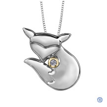 10kt Yellow Gold and silver Canadian Diamond Fox necklace
