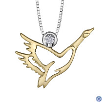 10kt Yellow Gold and Silver Canadian Diamond Canadian Goose necklace