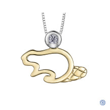 Silver and 10kt Yellow Gold Canadian Diamond Beaver necklace