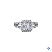 18kt White Gold 1.00ct Maple Leaf Diamonds Engagement Ring