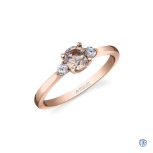 14kt Rose Gold Morganite And Maple Leaf Diamond Ring