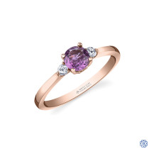 14kt Rose Gold Pink Sapphire And Maple Leaf Diamond Ring