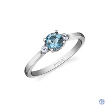 14kt White Gold Aquamarine And Maple Leaf Diamond Ring