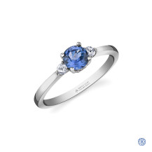 14kt White Gold Tanzanite And Maple Leaf Diamond Ring