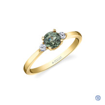 14kt Yellow Gold Green Sapphire And Maple Leaf Diamond Ring