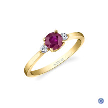 14kt Yellow Gold Ruby and Maple Leaf Diamond Ring