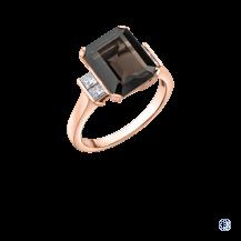 Maple Leaf Diamond 10kt Rose Gold Smokey Quartz Ring