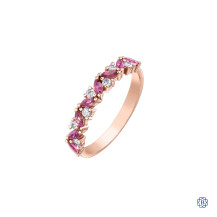 10kt rose gold pink tourmaline and diamond stackable ring
