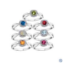 10kt White Gold Birthstone & Diamond Ring