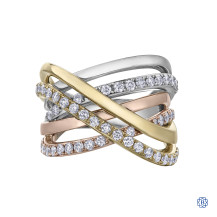 10kt yellow, white and rose gold diamond ring