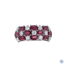 14kt Gold Ruby and Maple Leaf Diamond Ring
