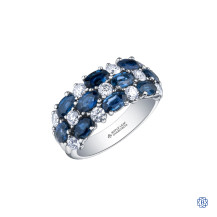 14kt Gold Sapphire and Maple Leaf Diamond Ring