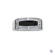 10kt White Gold Onyx Diamond Gents Ring