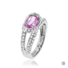 18kt White Gold Pink Sapphire Diamond Ring