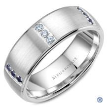 Bleu Royale Gold Diamond and Sapphire Wedding Band