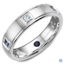 Bleu Royale Gold Wedding Band with Diamond and Sapphire