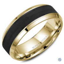 Bleu Royale Gold with Black Carbon Wedding Band