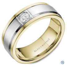 Bleu Royale Gold and Diamond Wedding Band
