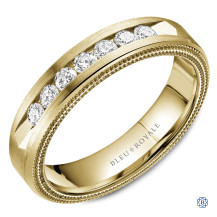 Bleu Royale Gold and Diamond Wedding Band