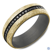 Bleu Royale 14kt Gold and Tantalum Wedding Band with Black Diamonds