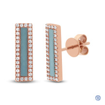 14kt Rose Gold Bar Turquoise and Diamond Earrings