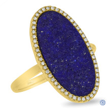 14kt Yellow Gold Lady's Diamond and Lapis Ring