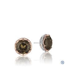 Tacori Crescent Crown Smokey Quartz Stud Earrings