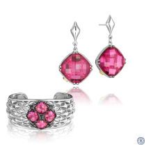 Tacori 18K925 Ruby Red Quartz earrings and bangle