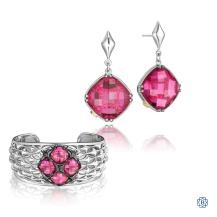 Tacori 18K925 Ruby Red Quartz earrings and bangle