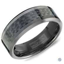 Black Ceramic with Black Carbon Fibre Inlay Wedding Band