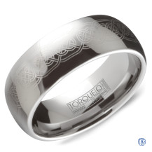Tungsten Wedding Band With Engraved Detailing