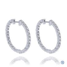 Gabriel & Co. 14kt Whte Gold Diamond Hoop Earrings