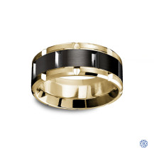 Carlex Gold with black cobalt Men's Wedding Band-cob18kt-yb-9mm