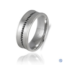 CrownRing Gold with Black Diamond Men's Wedding Band